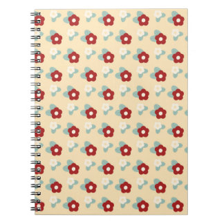 Ditsy Floral Pattern Maroon Teal and Buff Notebook