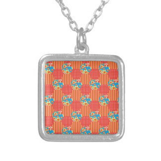 Ditsy Floral, Stripes, Polka Dots Patchwork Silver Plated Necklace