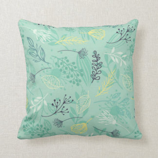 Ditsy Forest Herbs Blue Background | Throw Pillow