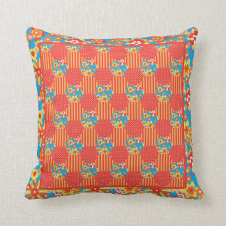Ditsy Orange Floral Patchwork, Stripes and Polkas Throw Pillow