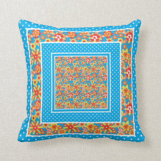 Ditsy Orange Flowers and Polka Dots on Turquoise Throw Pillow