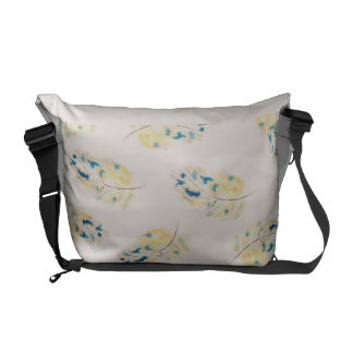 Ditsy pink owl feather watercolour design messenger bag