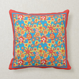 Ditsy Red, Orange, Yellow Flowers on Turquoise Throw Pillow
