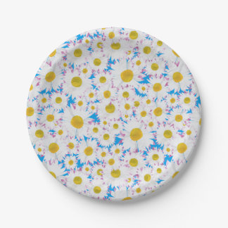 Ditzy Daisies on Blue Custom Paper Plates