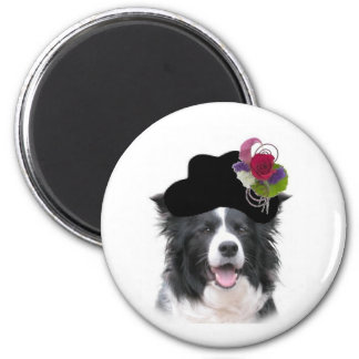 Ditzy Dogs~Border Collie Magnet~Easter 2 Inch Round Magnet