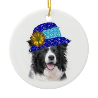 Ditzy Dogs~Border                                                 Collie Ornament~Easter