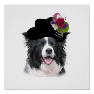 Ditzy Dogs~Border Collie Poster~Easter Poster