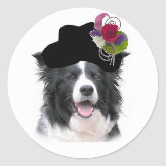 Ditzy Dogs~Border Collie Sticker~Easter Classic Round Sticker