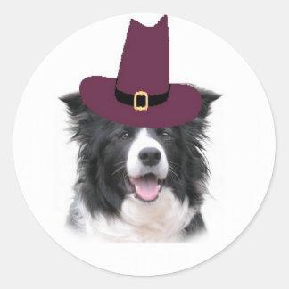 Ditzy Dogs~Border Collie Sticker~Thanksgiving Classic Round Sticker