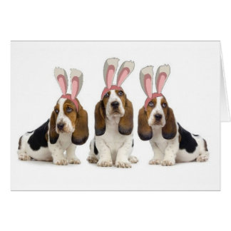 Ditzy Dogs~Original Notecard~Basset Hounds~Easter Card