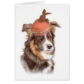 Ditzy Dogs!Original Notecard~Border Collie~Easter Card