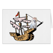 Ditzy Dogs~Original Notecard~Poodle~Columbus Day Card