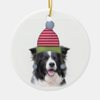 Ditzy Dogs~Original Ornament~Border Collie Double-Sided Ceramic Round Christmas Ornament