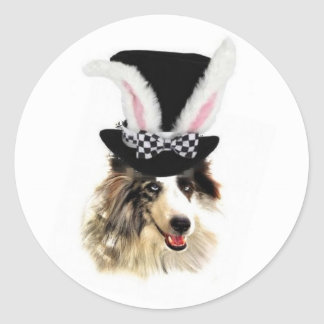 Ditzy Dogs~Original Sticker~Border Collie~Easter Classic Round Sticker