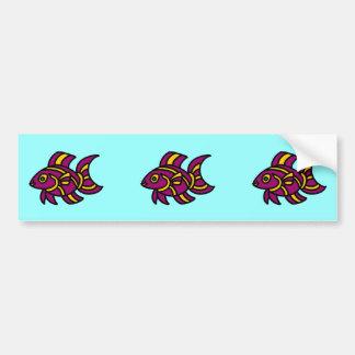 Ditzyfish púrpura con las rayas amarillas pegatina para auto