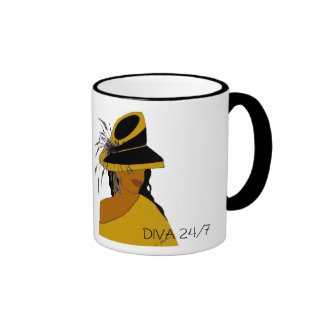 DIVA 24/7-BROWN RINGER COFFEE MUG