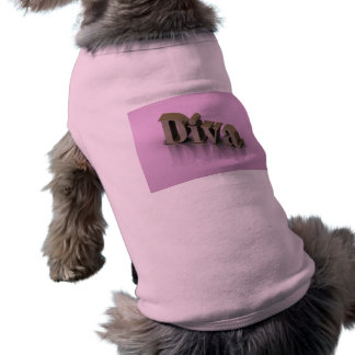 Diva 3D rosado Playera Sin Mangas Para Perro