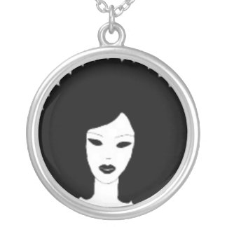 Diva Afro Large Silver Plated Round Necklace