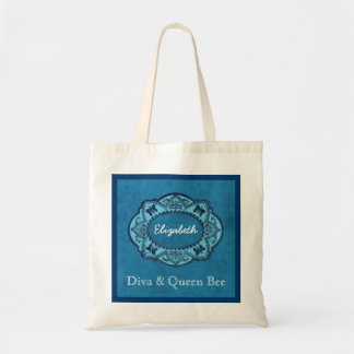 DIVA and QUEEN BEE Custom Name Blue Grunge V006 Tote Bag