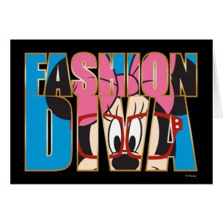 Diva azul de la moda de Minnie el   Tarjeta De Felicitación