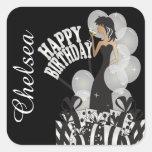Diva Birthday Girl | Personalize | White Square Sticker