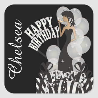 Diva Birthday Girl | Personalize | White Square Sticker