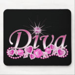 "Diva Bling Mouse Pad<br><div class=""desc"">Every Diva will sparkle with this beautiful Diva text design with shimmering gems and jewels in hues of pink - so girlie!</div>"