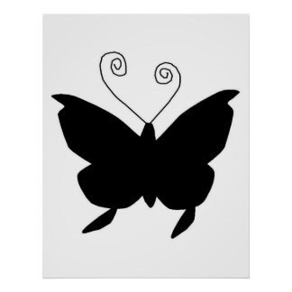 Diva Butterfly In Black Poster