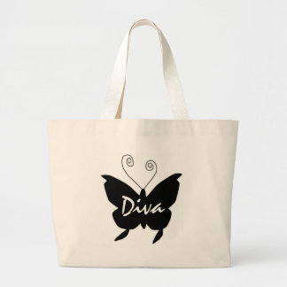 Diva Butterfly Large Tote Bag