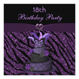 Diva Cake Printed Zebra Glitter 18th Birthday Invites