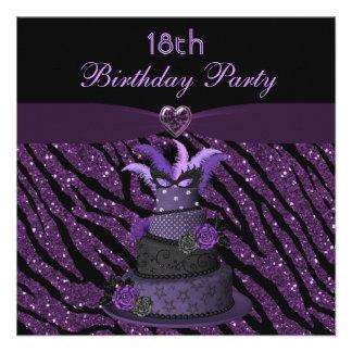 Diva Cake & Printed Zebra Glitter 18th Birthday Invites
