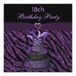 Diva Cake & Printed Zebra Glitter 18th Birthday 5.25x5.25 Square Paper Invitation Card