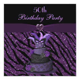 Diva Cake & Printed Zebra Glitter 50th Birthday Card