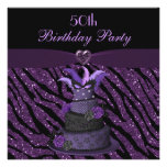 Diva Cake & Printed Zebra Glitter 50th Birthday Invite