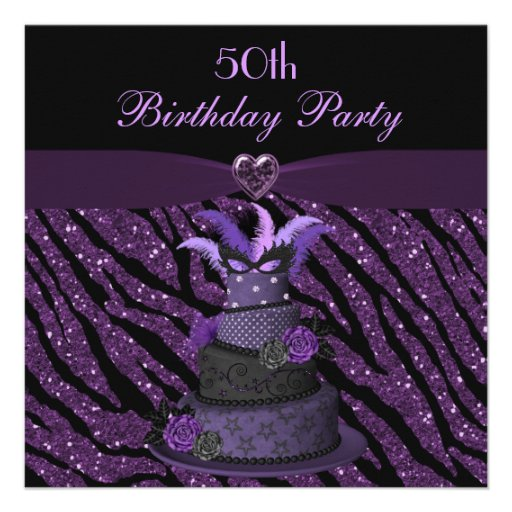 Diva Cake Printed Zebra Glitter 50th Birthday Invite