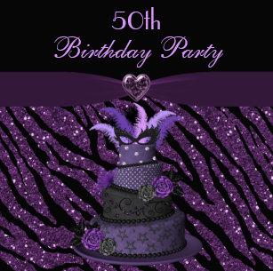 Diva Cake Printed Zebra Glitter 50th Birthday Invitation