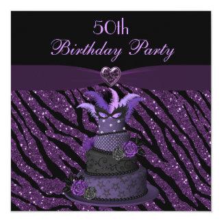 Diva Cake & Printed Zebra Glitter 50th Birthday Invitation