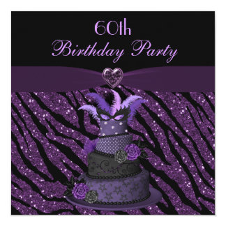 Diva Cake & Printed Zebra Glitter 60th Birthday Card