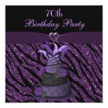 Diva Cake & Printed Zebra Glitter 70th Birthday 5.25x5.25 Square Paper Invitation Card
