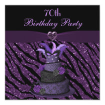 Diva Cake & Printed Zebra Glitter 70th Birthday Invitation