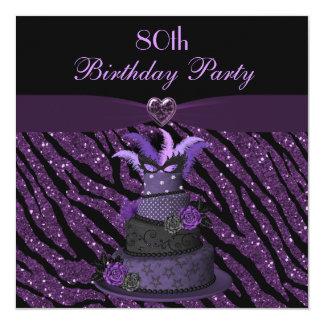 Diva Cake & Printed Zebra Glitter 80th Birthday 5.25x5.25 Square Paper Invitation Card