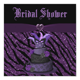 Diva Cake & Printed Zebra Glitter Bridal Shower Card
