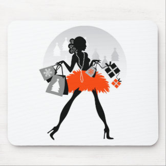 Diva Christmas Shopping Mouse Pad