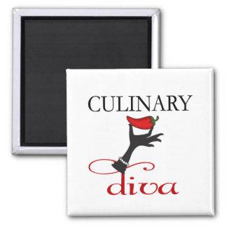 Diva culinaria imán cuadrado