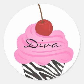 Diva Cupcake Classic Round Sticker