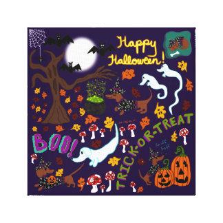 Diva Dachshund's Halloween Canvas Print