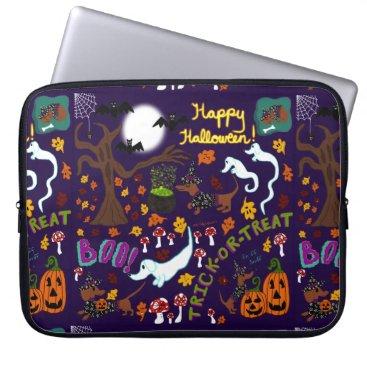 Halloween Themed Diva Dachshund's Halloween Laptop Sleeve