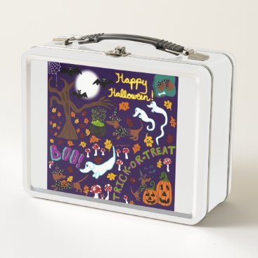 Halloween Themed Diva Dachshund's Halloween Metal Lunch Box