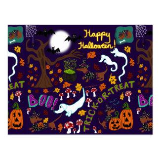 Diva Dachshund's Halloween Postcard