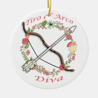 Diva de Arco del Al del Tiro Adorno Navideño Redondo De Cerámica